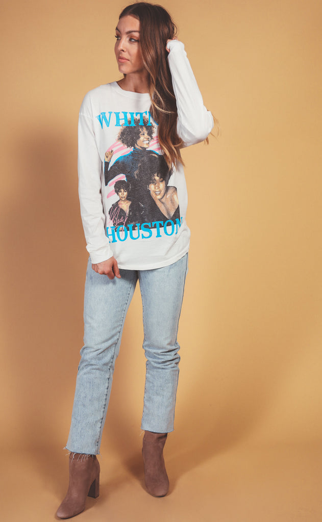 daydreamer: whitney houston dance with somebody long sleeve tee