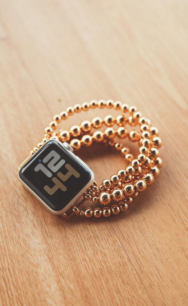 gold dust beaded smart watch band