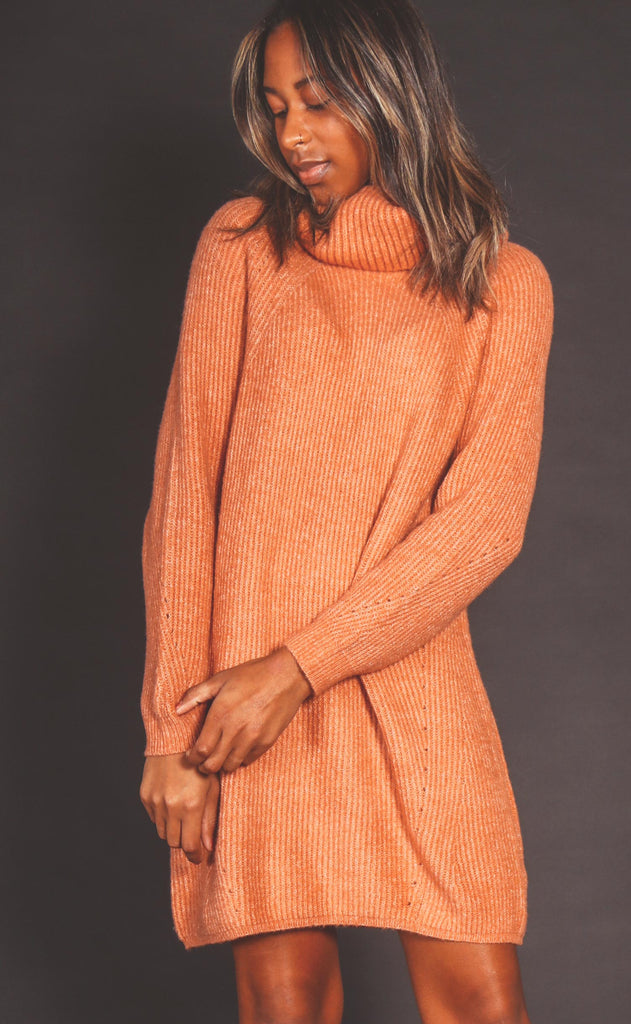 slip over sweater dress - clay