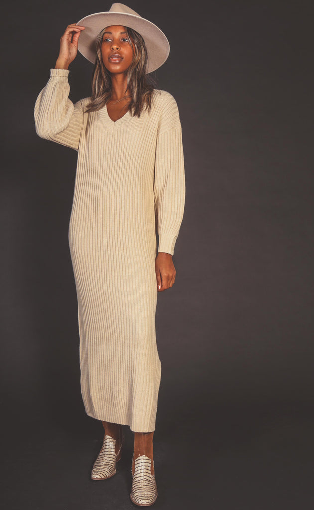 free fall midi sweater dress - oatmeal