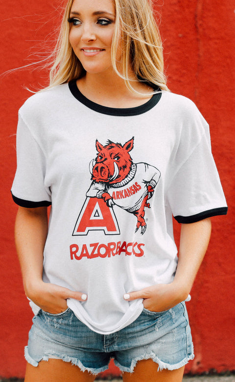 charlie southern: leaning a razorback ringer t shirt (pre-order)