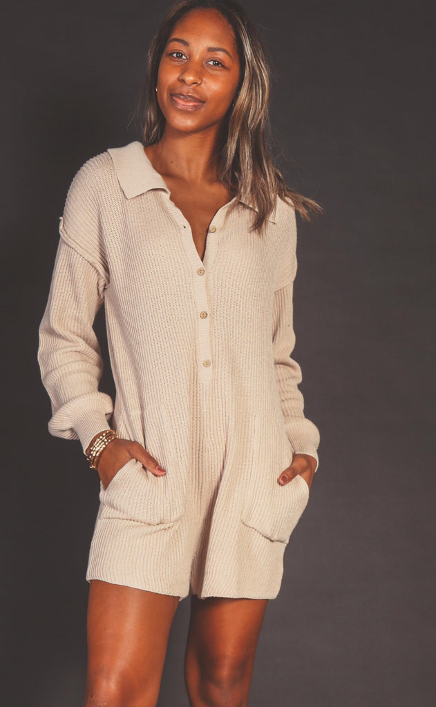 sweater weather knit romper