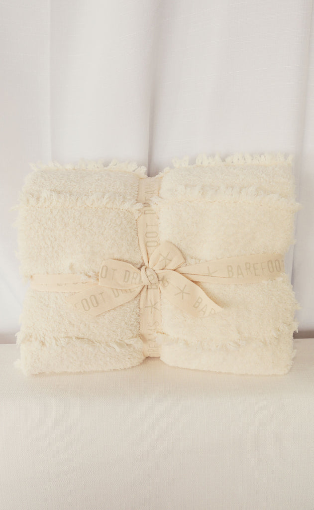 barefoot dreams: cozychic placed fringe throw - cream
