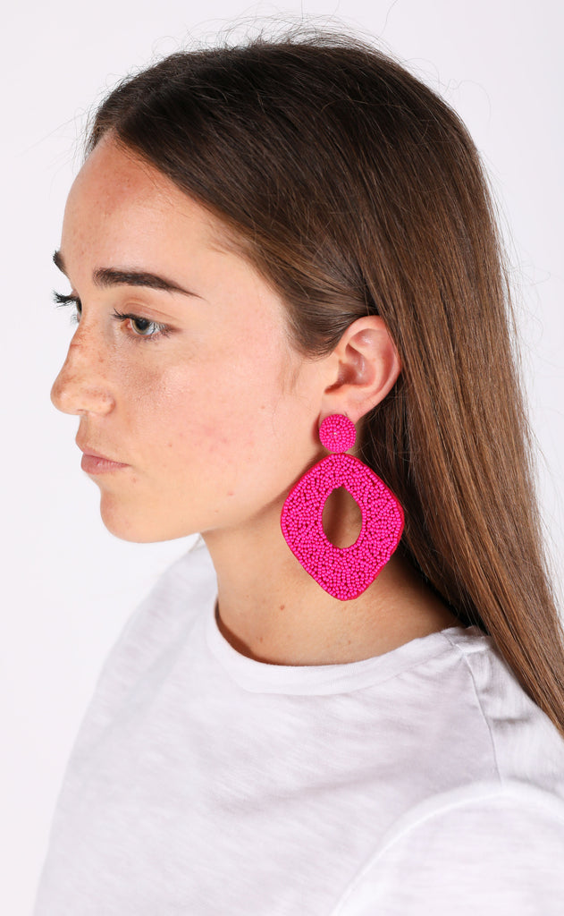 abby earrings - hot pink