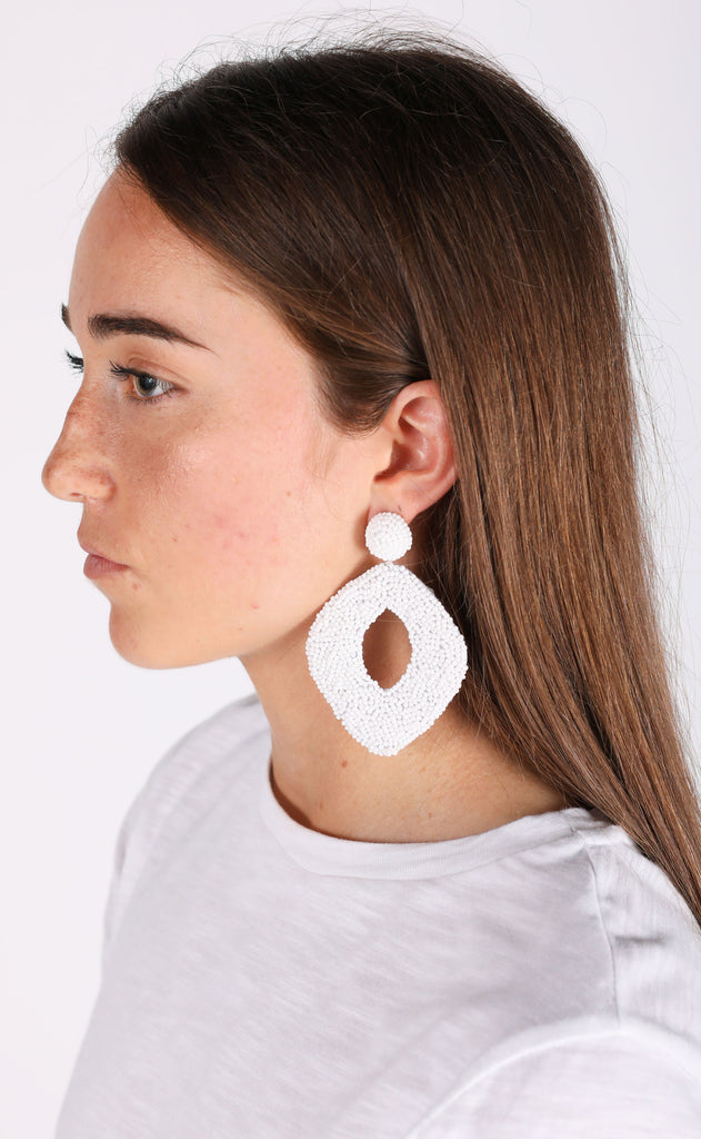 abby earrings - white