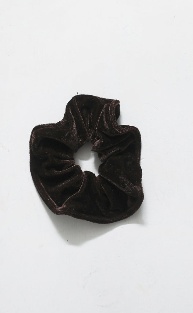 90s are back velvet scrunchie - dark brown