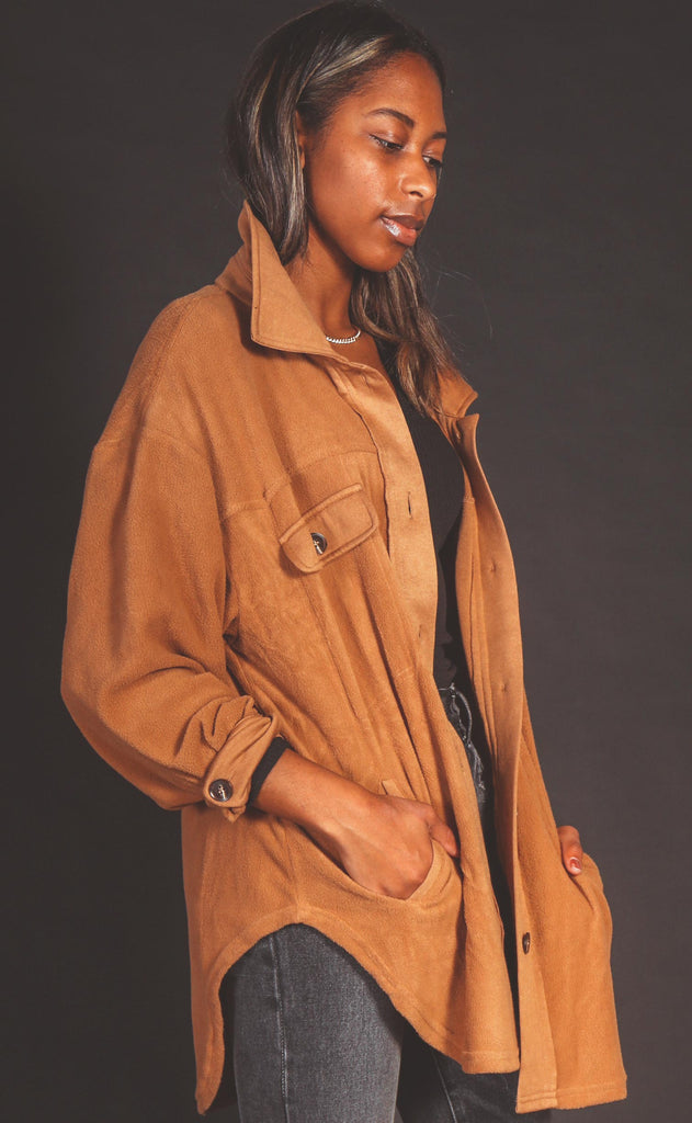 layered up fleece jacket - camel