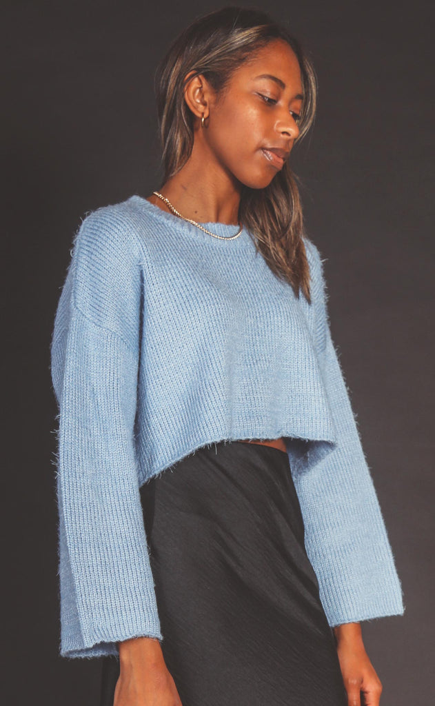 touch the sky knit sweater - blue