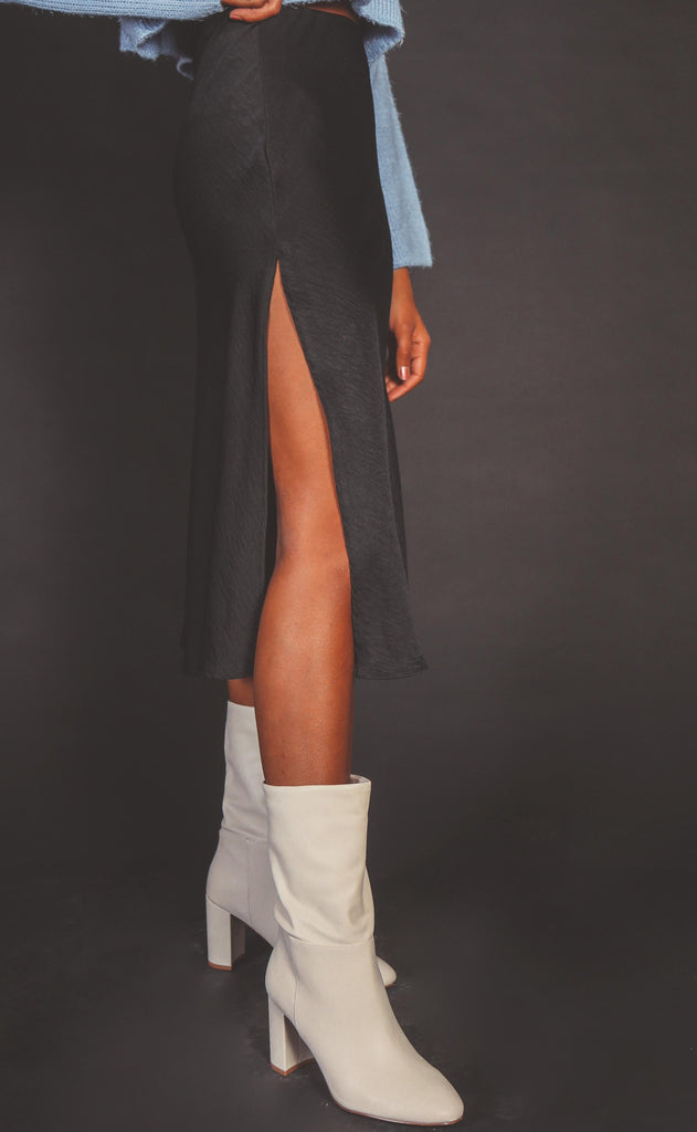 after dark satin midi skirt
