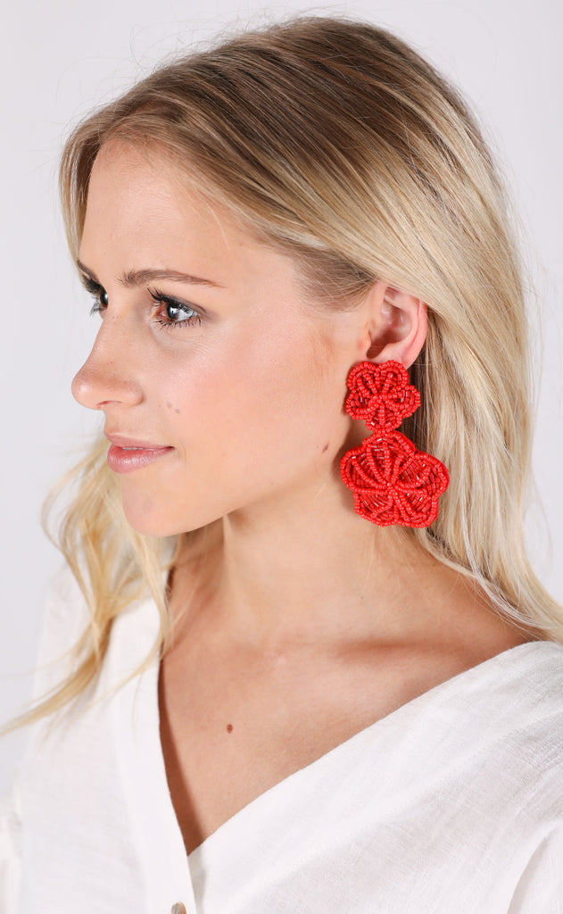margarita earrings - red