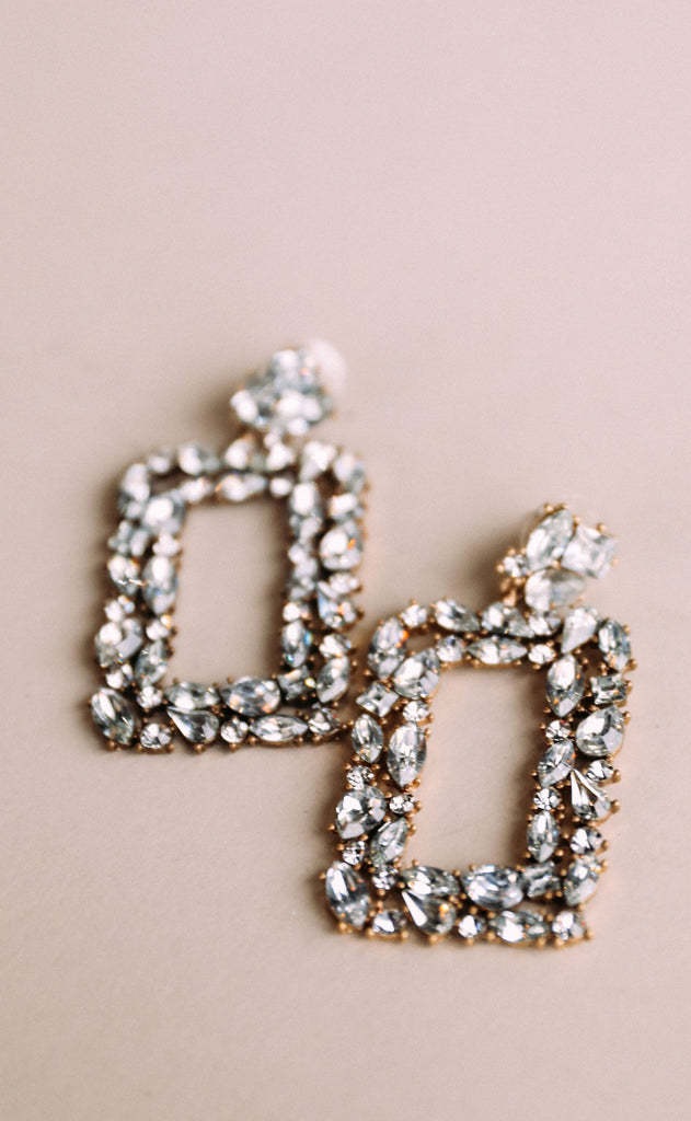 shimmer and shine embellished earrings - clear