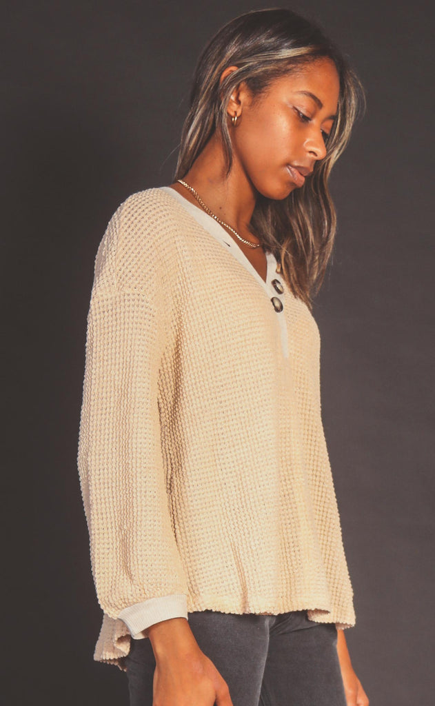 happy here waffle knit top - natural