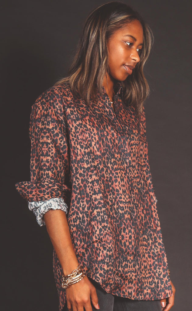 solid & striped: oxford tunic - leopard linen gauze