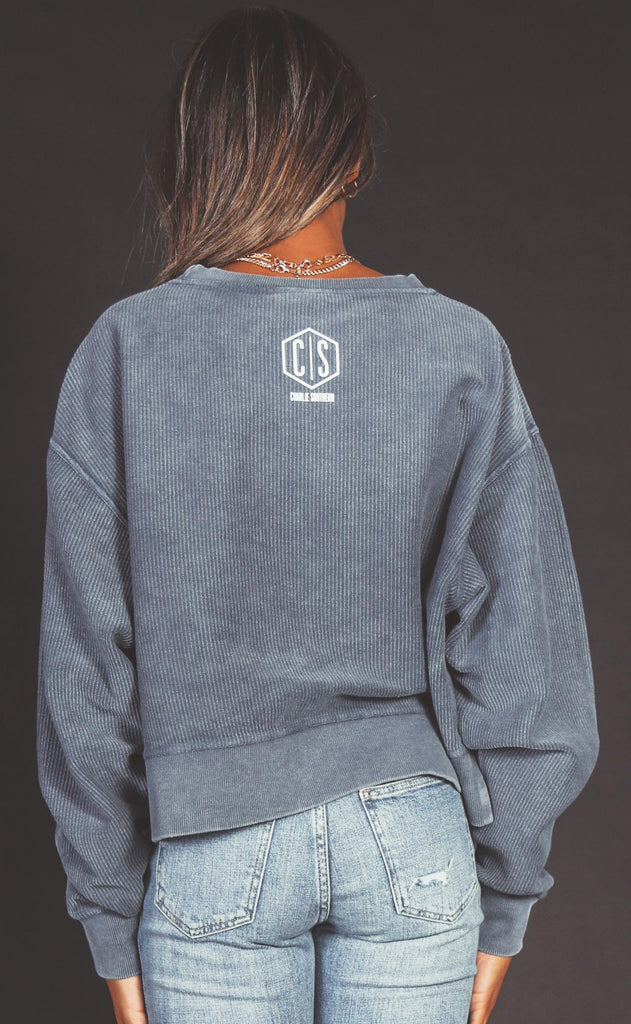 charlie southern: howdy crop corded sweatshirt - navy
