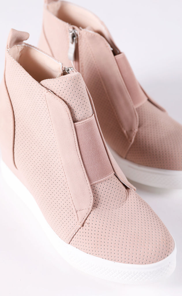 street chic sneaker wedges - blush