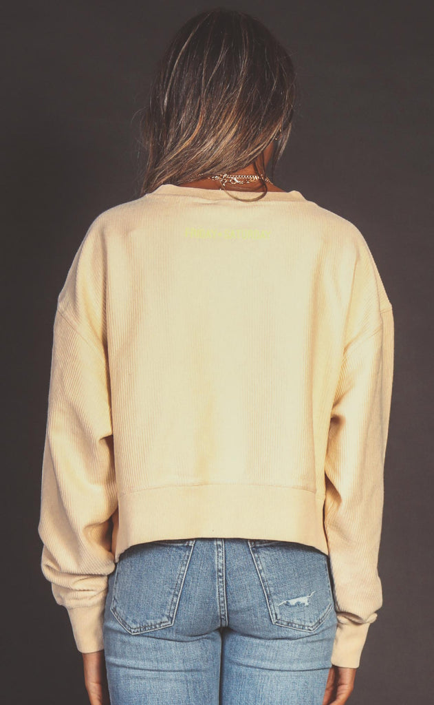 friday + saturday: smiley face crop corded sweatshirt