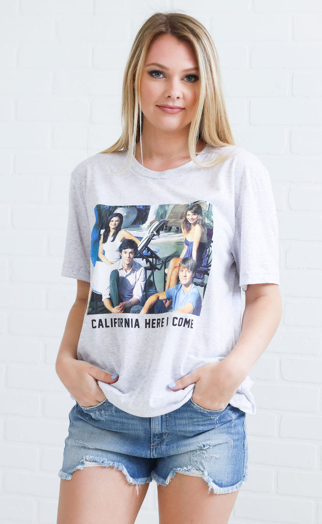 friday + saturday: califonia here i come t shirt