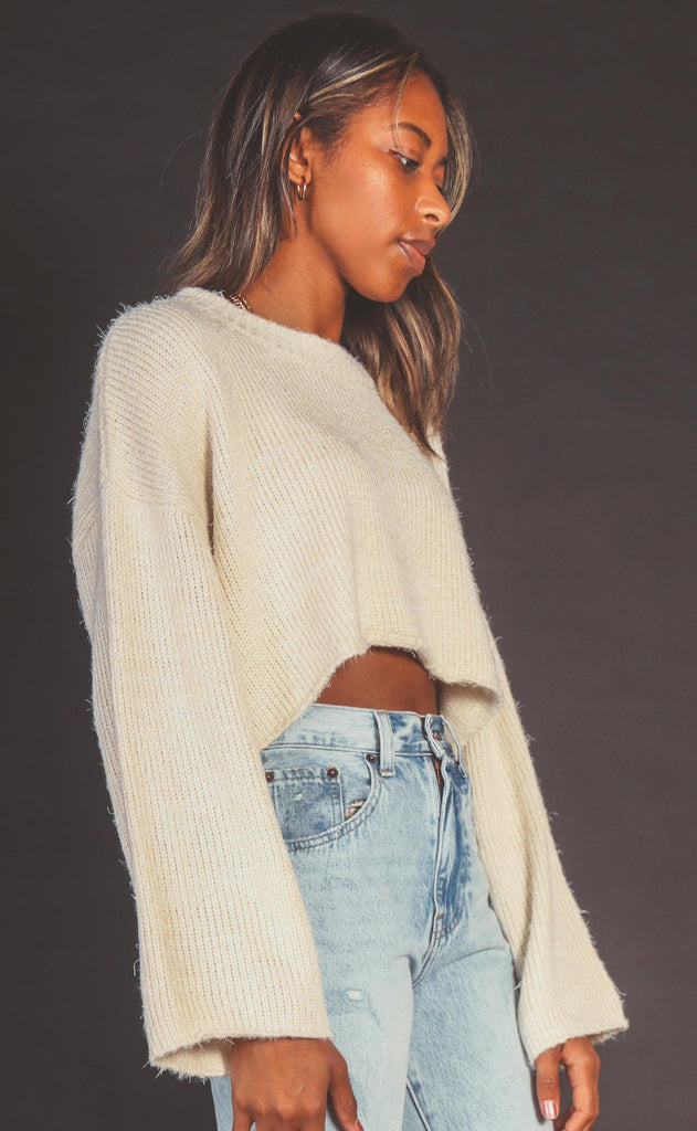 touch the sky knit sweater - cream