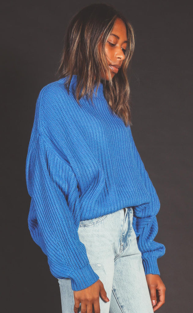winter break mock neck sweater - blue