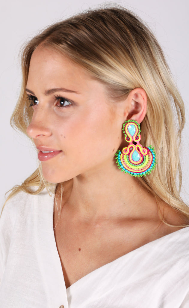 abanico earrings - neon
