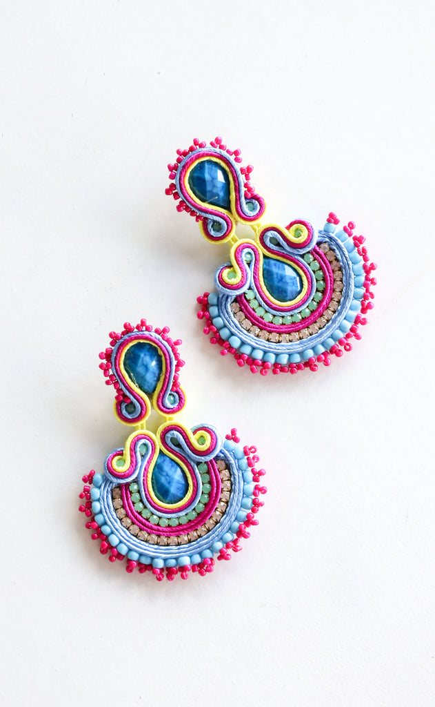 abanico earrings - blue