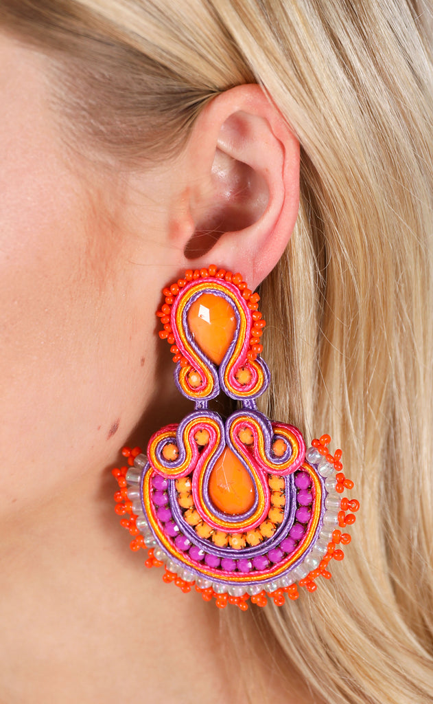 abanico earrings - orange