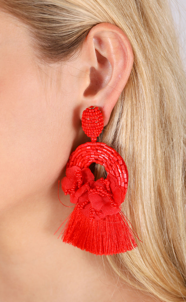 rita earrings - red