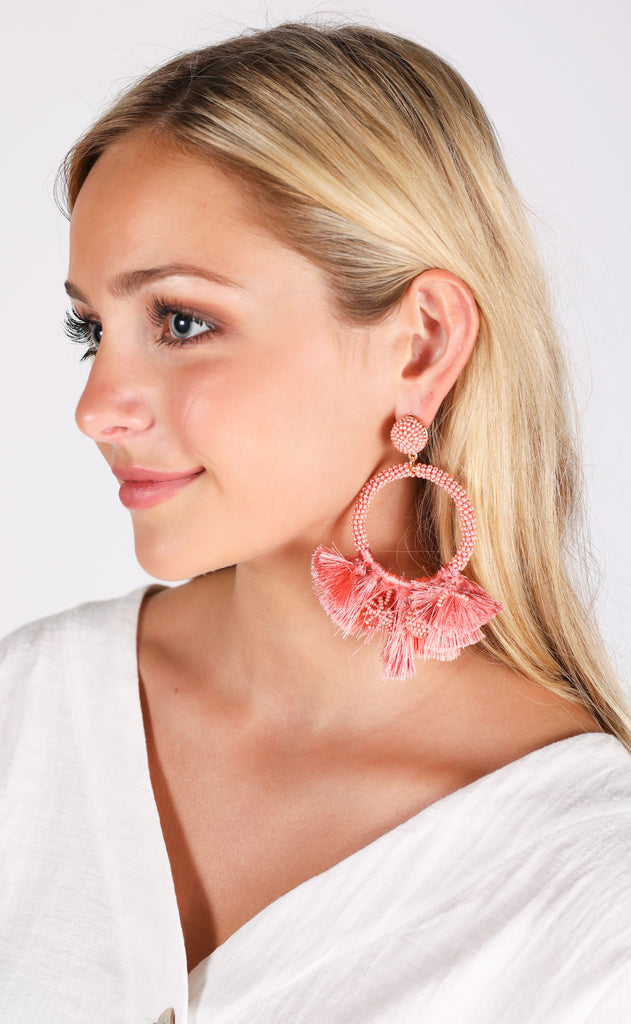 baru earrings - coral