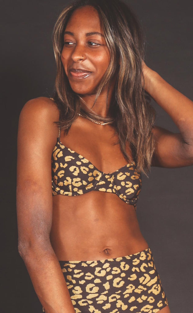 solid & striped: ginger bikini top - gold leopard jacquard