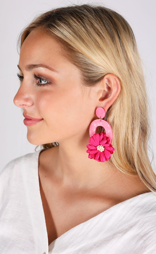 jasmine earrings - hot pink