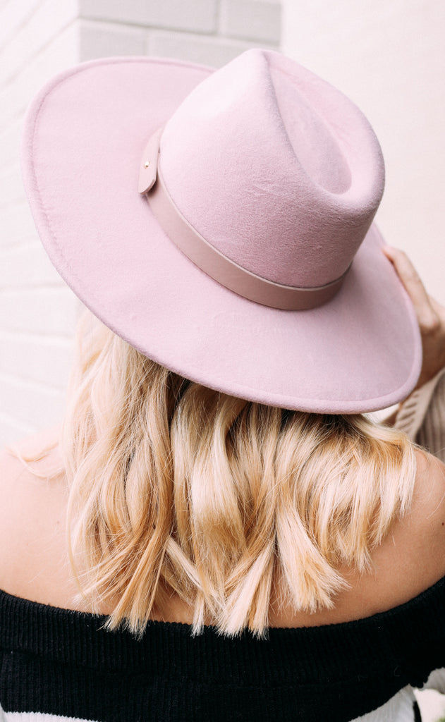 belt it out felt hat - mauve