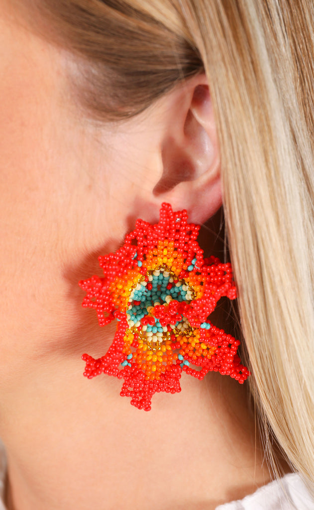 orquidea earrings - red