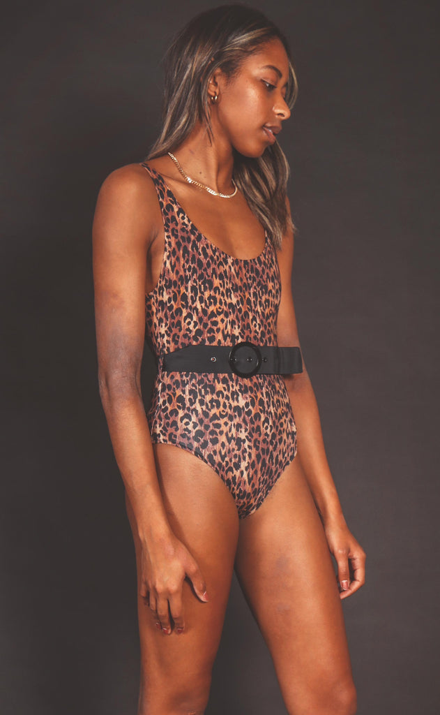solid & striped: annemarie belted one piece - leopard