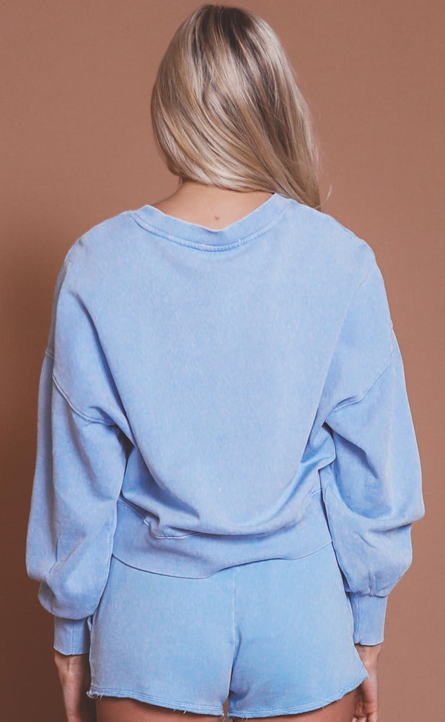 z supply: lia washed pullover - perennial blue