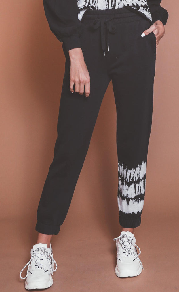 z supply: selene stripe tie-dye jogger - black