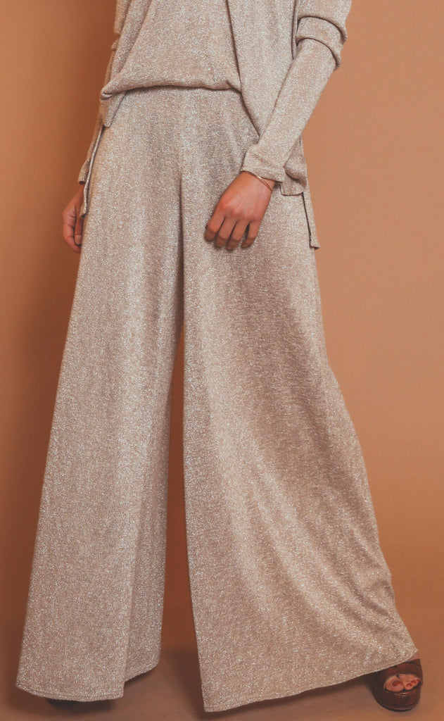 show me your mumu: jordan pants - gold sparkle knit