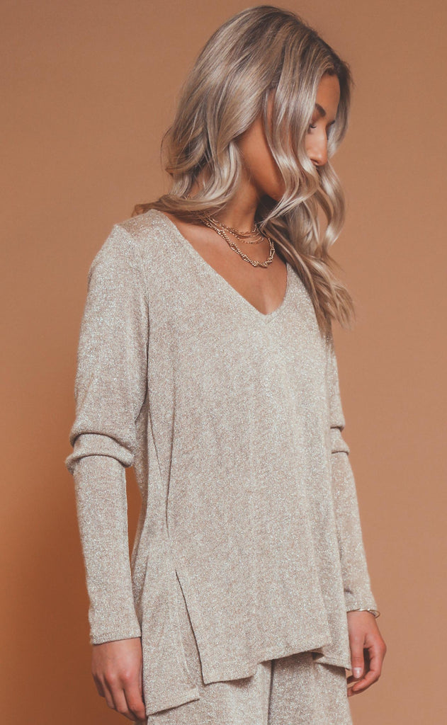 show me your mumu: clark tunic top - gold sparkle knit