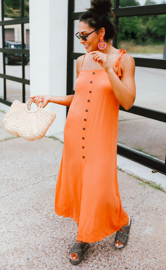 tangerine dream button up dress