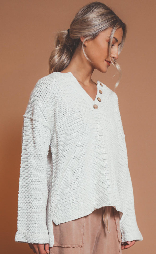 just because henley sweater - ivory
