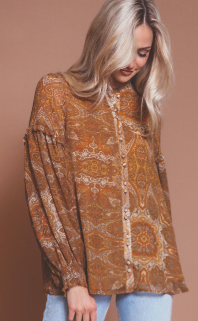 show me your mumu: georgie top - golden paisley