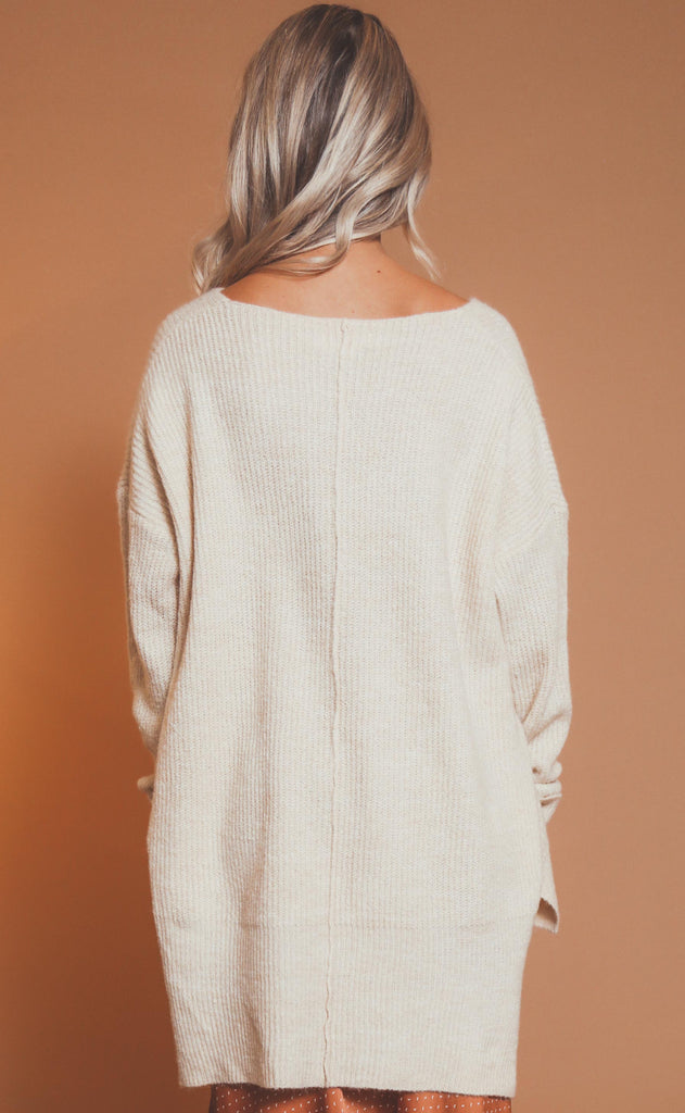 soft touch knit sweater - cream