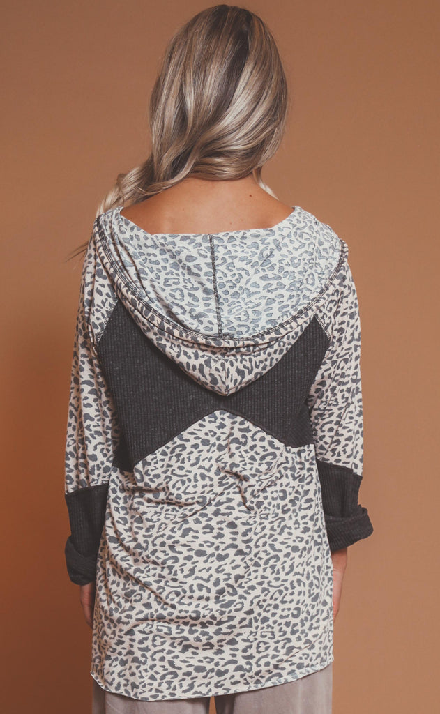 spot on hooded henley top