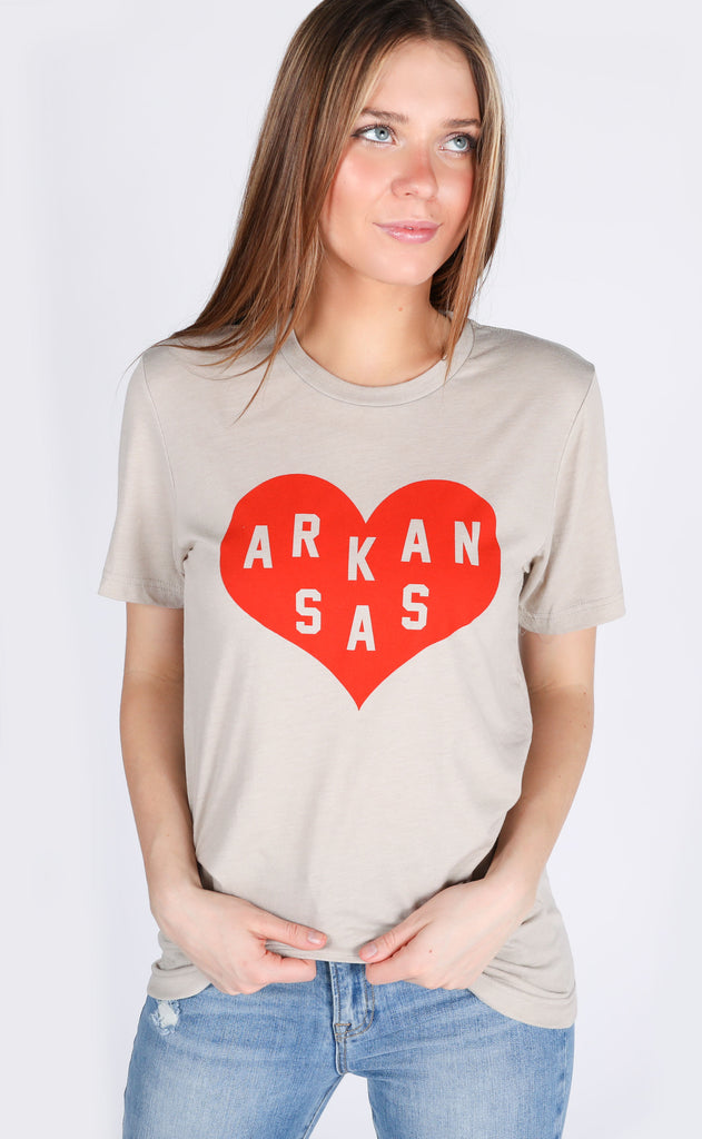 charlie southern: feel good heart state t shirt - arkansas