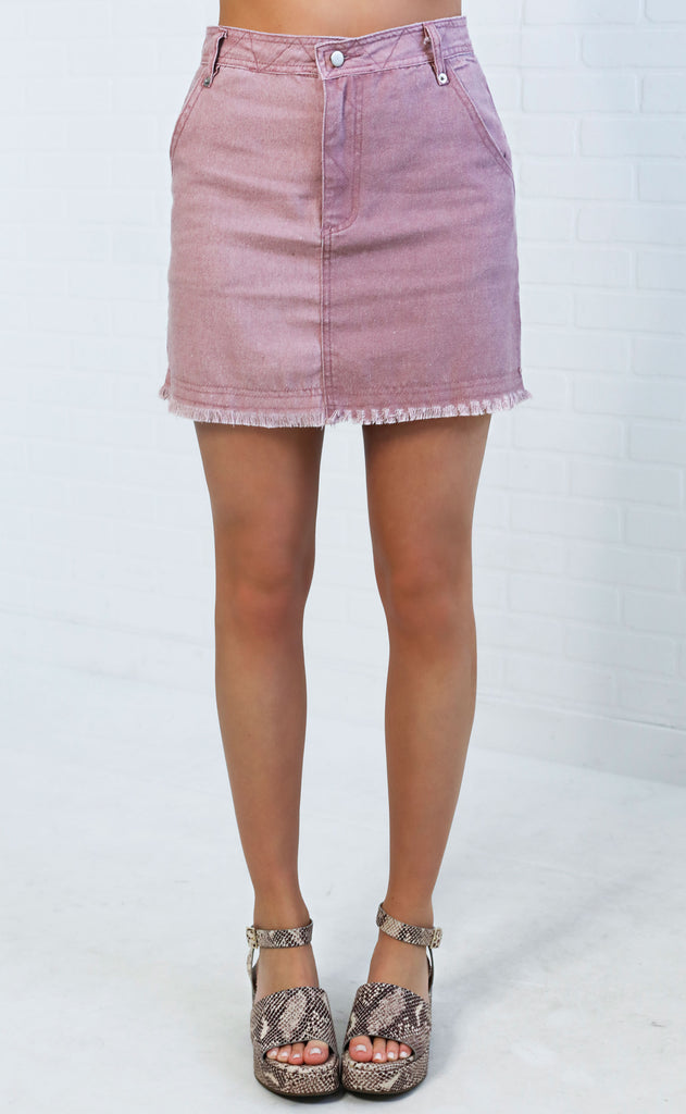 sunny days denim skirt - dusty rose