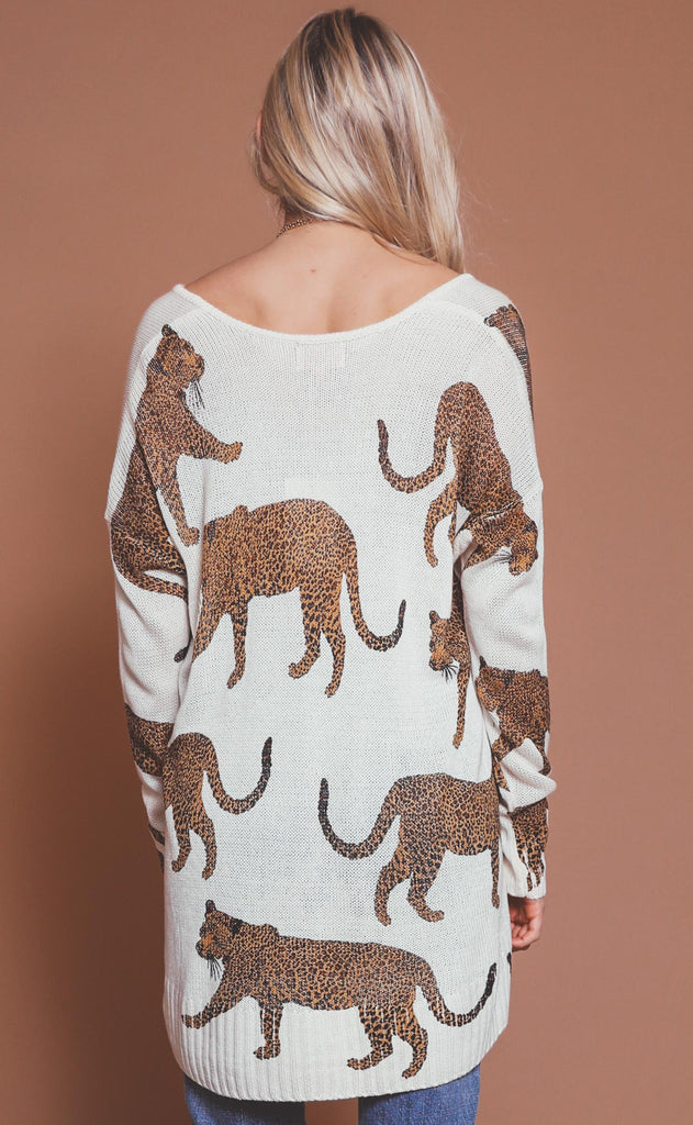 show me your mumu: hug me sweater - tossed leopard knit