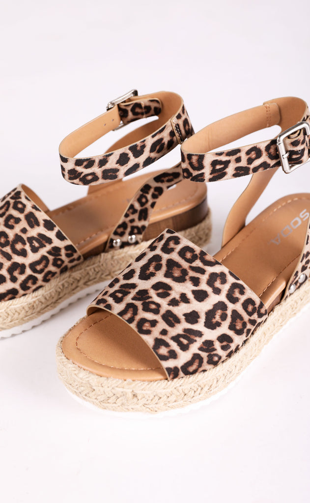 roped in platform sandals - leopard