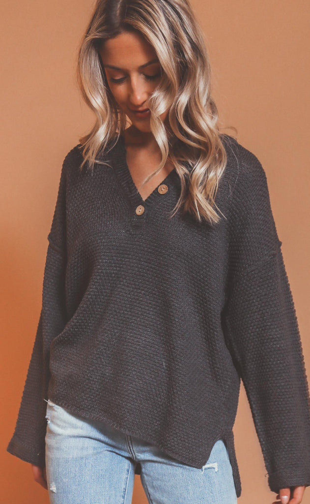 just because henley sweater - charcoal