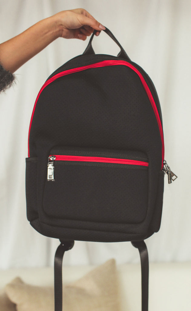 haute shore: alex backpack - black + red