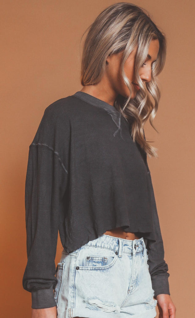 ride with me ribbed top - charcoal