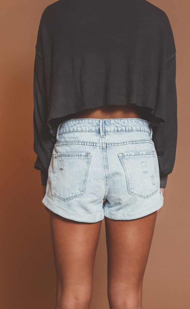 amuse society: crossroads denim shorts - sunfade
